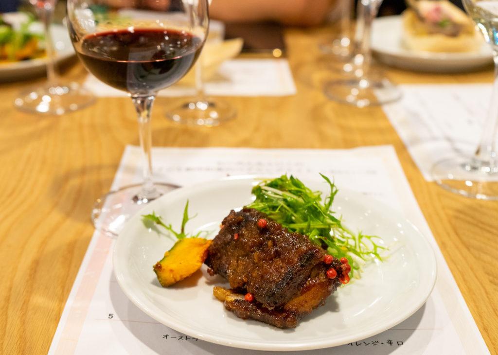 豚肉料理と赤ワイン
